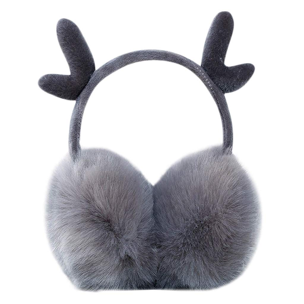 Cute Kids Cartoon Earmuffs.ZYooh Faux Fur Christmas Antlers Design Windproof Warm Plush Ear Warmers Earmuffs