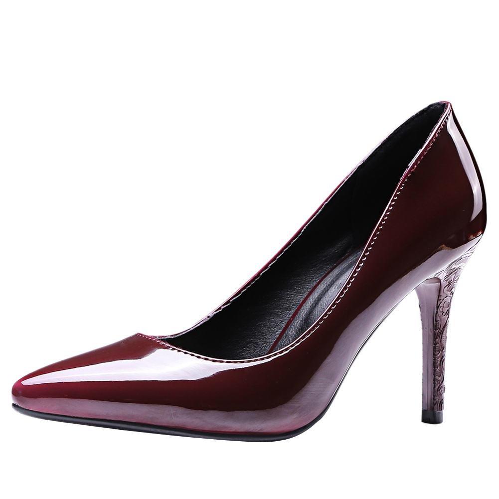 MissSaSa Damen Glitzer Lack Stiletto Leder-Pumps34 EU|Weinrot