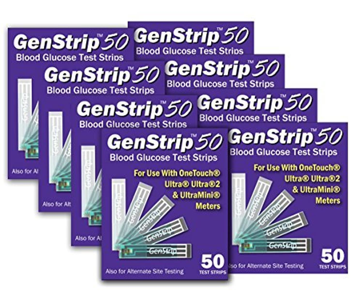 GenStrip50 Test Strips For Use with OneTouch Ultra Meters | 8 pack by