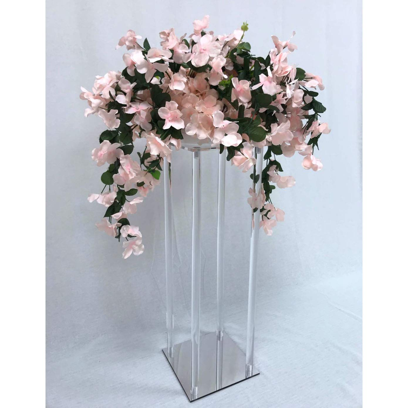 Everbon Set of 10 25.6 Inches Clear Acrylic Flower Stand with Mirror Effect Wedding Floral Vase Crystal Columns Table Centerpiece Pillars Marriage Decoration