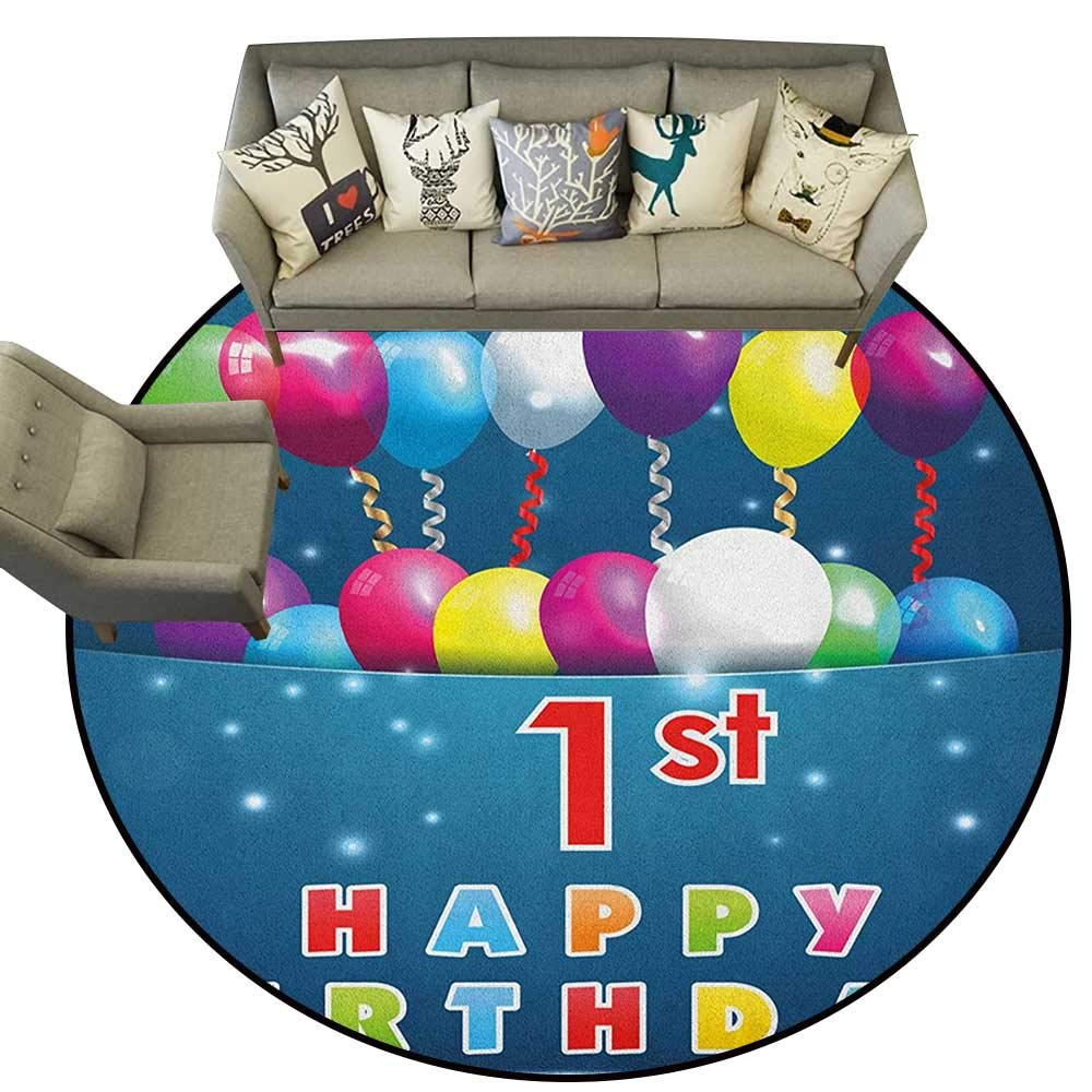 Style04 Diameter 40(inch& xFF09; 1st Birthday,Personalized Floor mats Baby First Party Festive Cake with Forest Fruits and Candlestick Image Print D54 Floor Mat Entrance Doormat