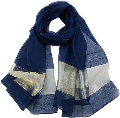 Womens Geometric Chiffon Silk Large Shawl Block Ladies Tassel Scarf Long