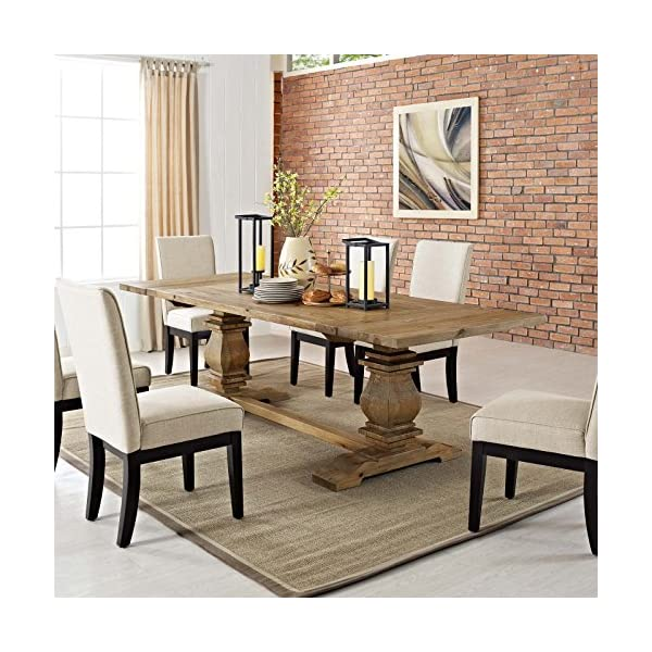 """Modway Rise 73"""" to 103"""" Rustic Farmhouse Trestle Extendable Wood Kitchen and Dining Table in Brown"""