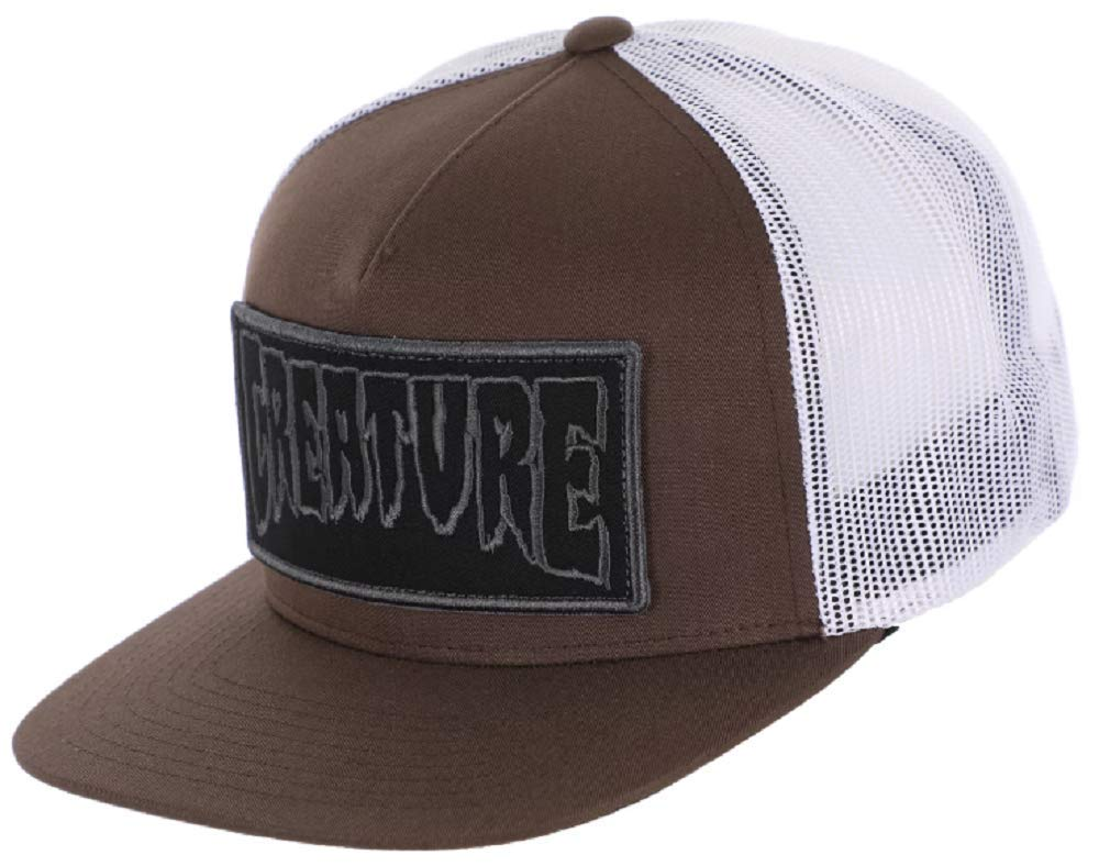 Creature Men's Mesh Trucker Snapback Hat (Brown/White, One Size)