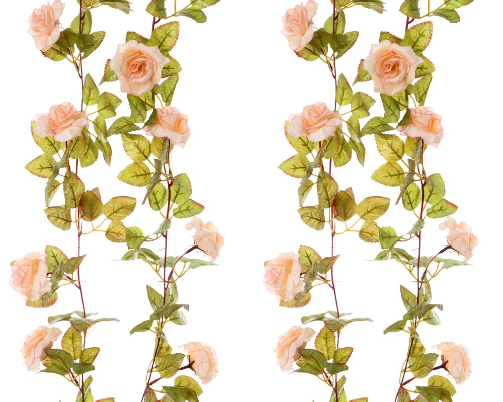 Felice Arts 2 Pack 17 Heads 7.2 Ft/pc Artificial Silk Fake Flowers Autumn Rose Vine Realistic Hanging Silk Rose Plants Wedding Home Party Arch Decor (Champagne)