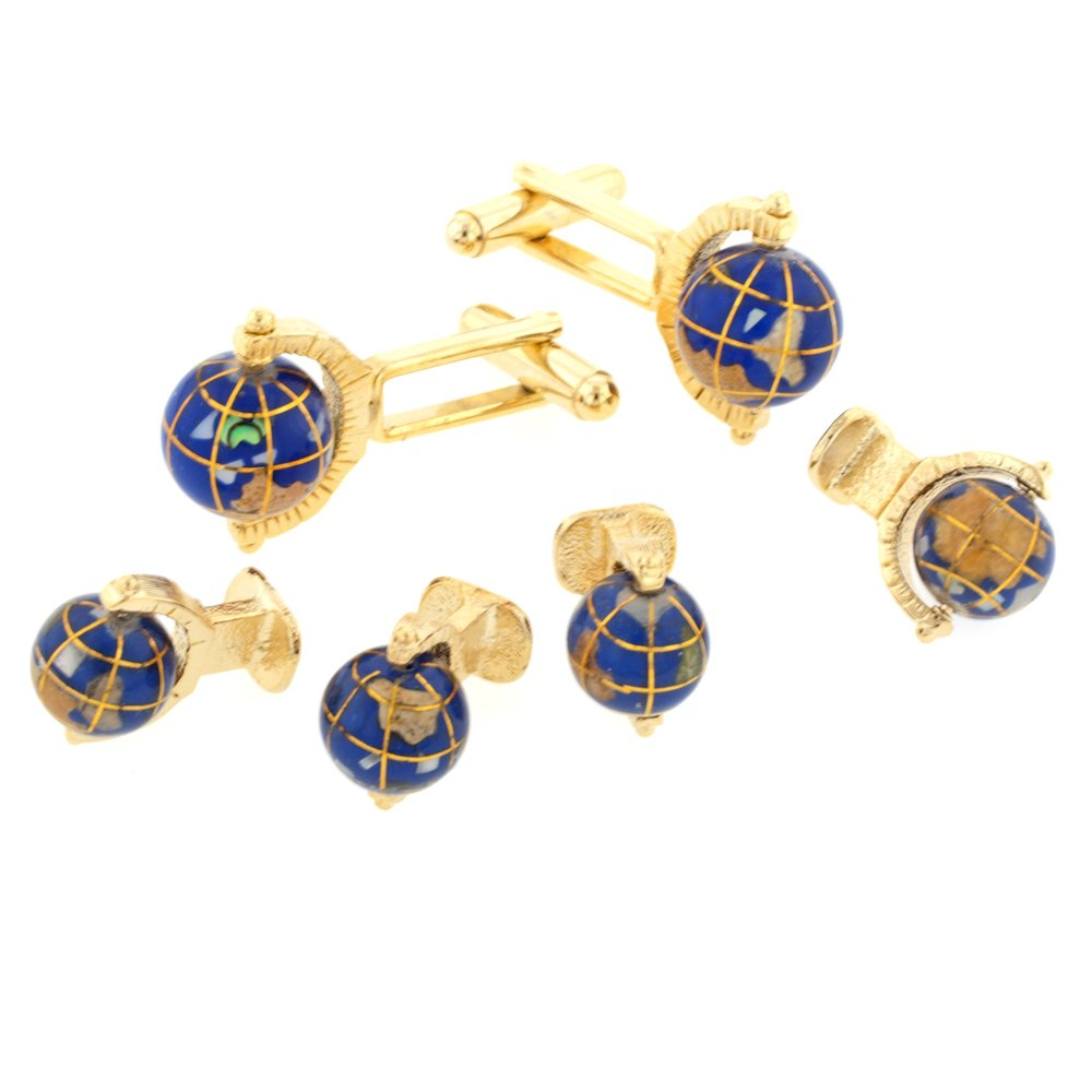 JJ Weston Spinning Globe Tuxedo Cufflinks and Shirt Studs. Made in the USA. FS-3405-SG