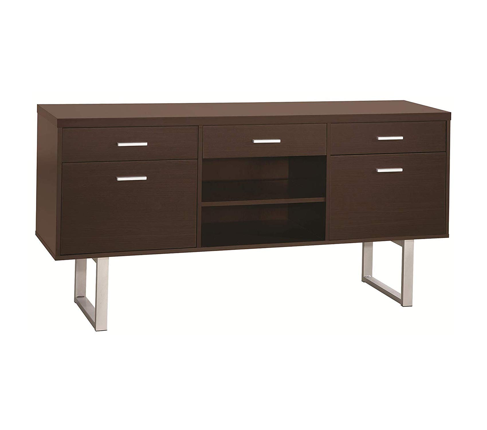 Cоаstеr Hоmе Furnishings Office Home Furniture Premium Credenza with Metal Sled Legs Cappuccino