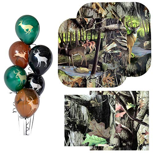 (Havercamp Next Camo Party Bundle | Dinner & Dessert Plates, Luncheon & Beverage Napkins, Balloons | Great for Hunter Themed Party, Camouflage Motif, Outdoor Events)