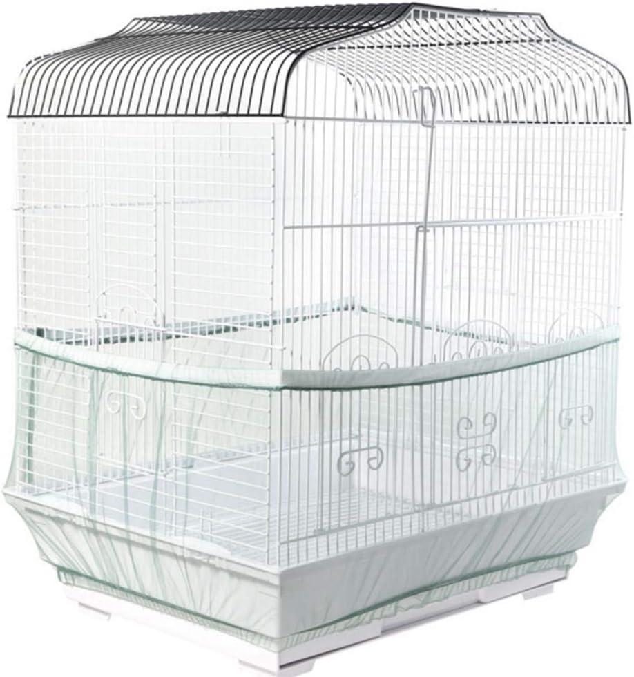 Cubierta de la jaula de p/ájaros Cubierta de la jaula de p/ájaros Colector de semillas Nylon Gasa ajustable el/ásticamente Jaula de p/ájaros Accesorios para proteger al p/ájaro del gato Cubierta de