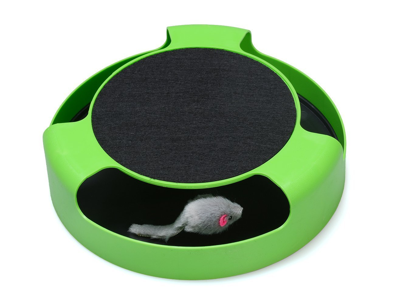 Cat Interactive Toys with a Running Mice and a Scratching Pad, Catch The Mouse, Cat Scratcher Catnip Toy, Green Naisidier