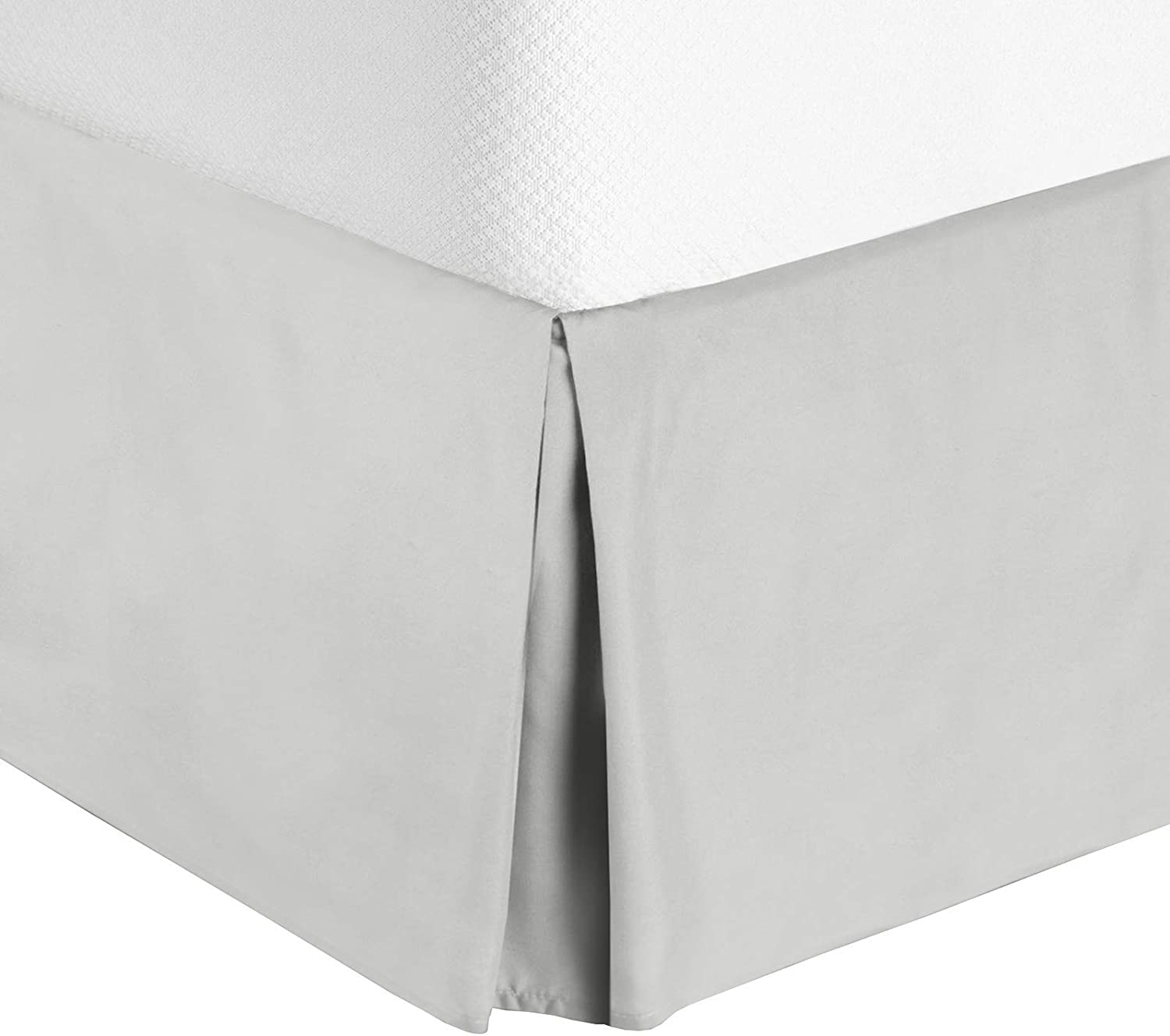 "Nestl Bedding Pleated Bed Skirt - Luxury Microfiber Dust Ruffle - Sleek Modern Bed Skirt - 14"" Tailored Drop, King, Silver"