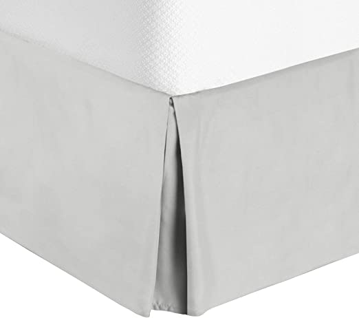 Drop Microfiber Pleated Bed Skirt Luxury Dust Ruffle Bedskirt Sleek Modern 14in