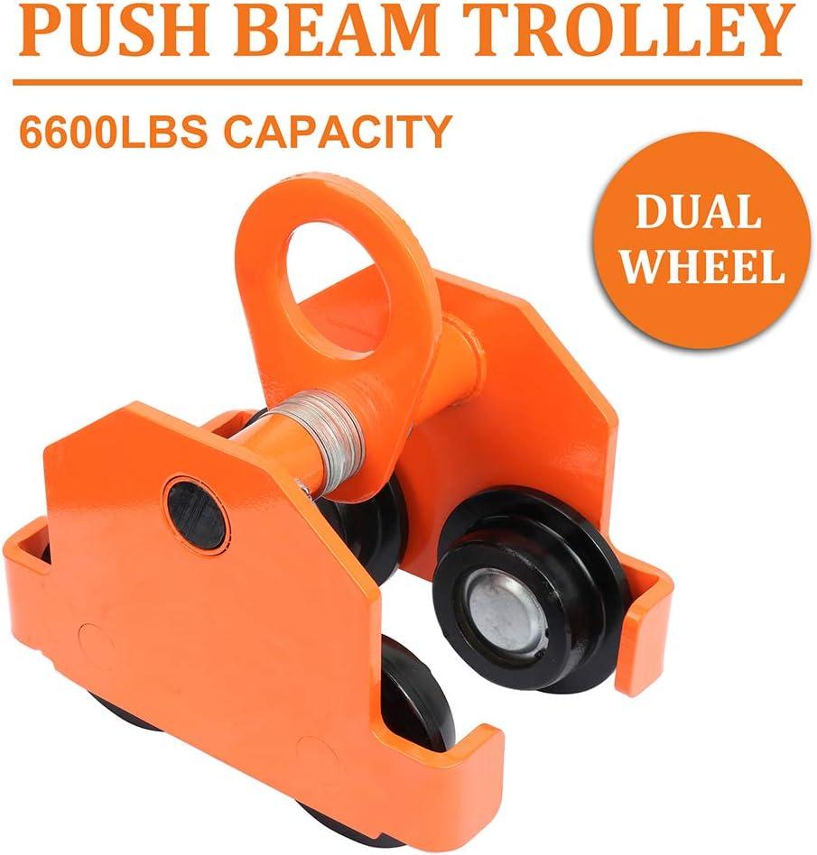 SCITOO 3 Ton Push Beam Trolley for I-Beam Gantry Crane Hoist Winch