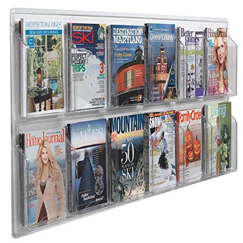 "TableTop King LRC117 60"" x 25"" Clear-Vu 12-Pocket Magazine Display"
