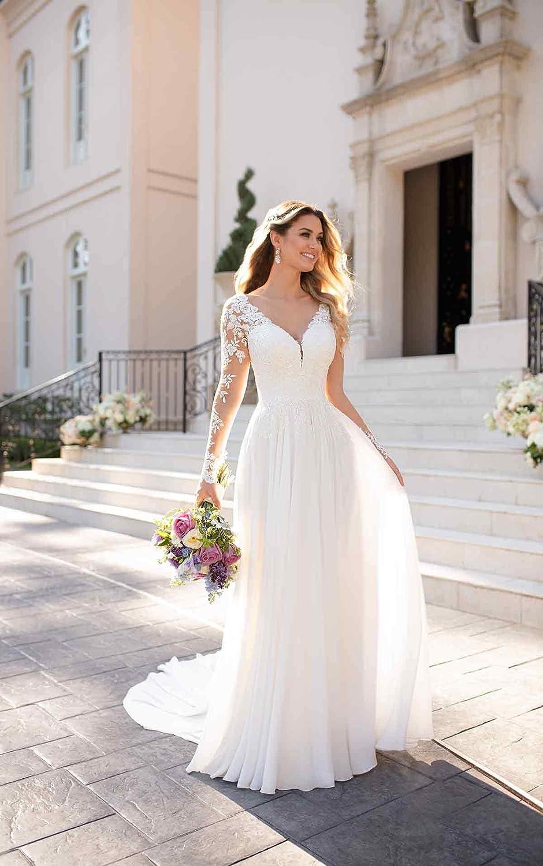 Nanger Damen V-Ausschnitt Hochzeitskleider Lang /Ärmel Spitze Chiffon Boho Brautkleider Standesamt