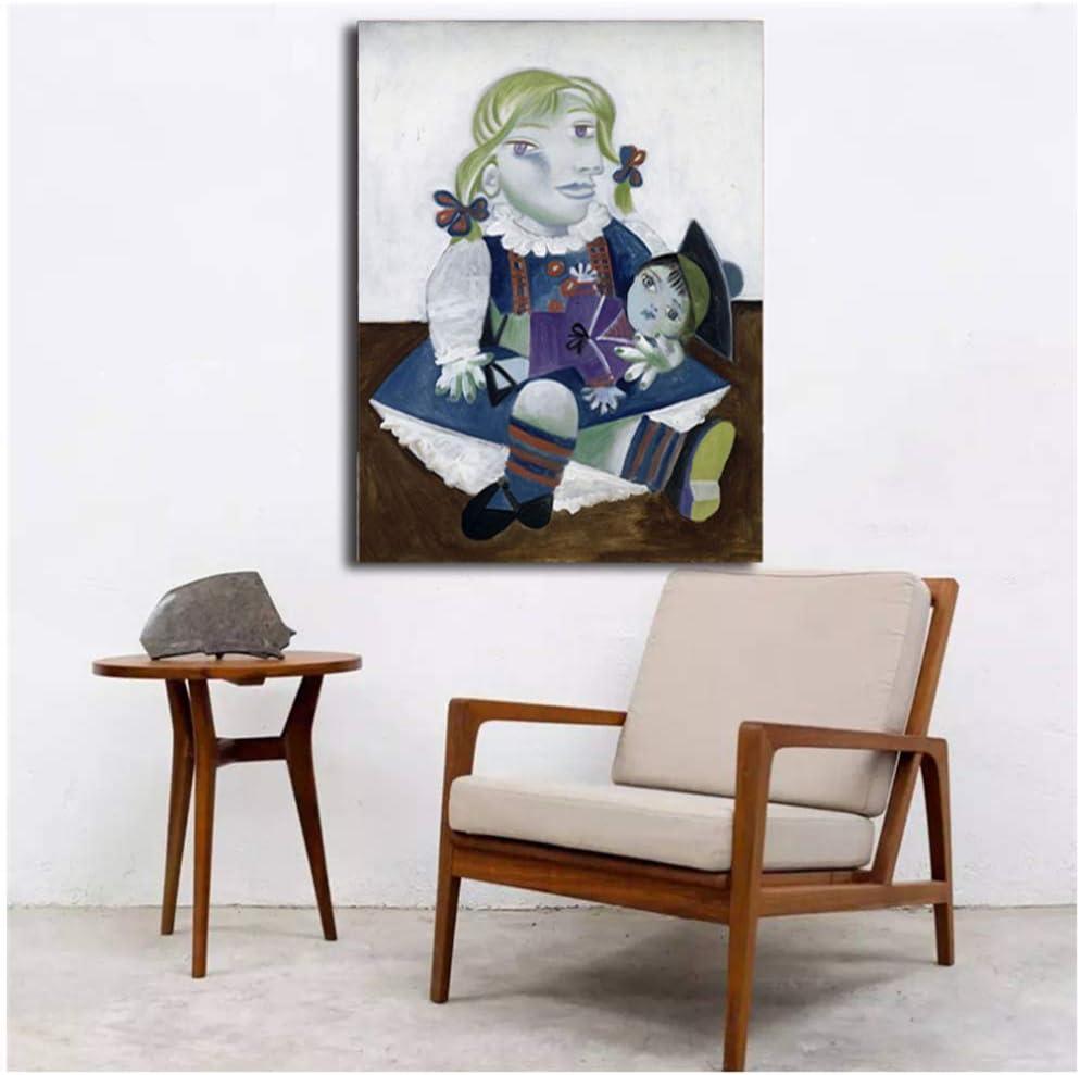 Pablo Picasso Maya con una muñeca Arte de la pared Carteles de la lona Impresiones Pintura al óleo Cuadros de la pared para el dormitorio Marco moderno de la decoración del hogar -50x70cm Sin marco