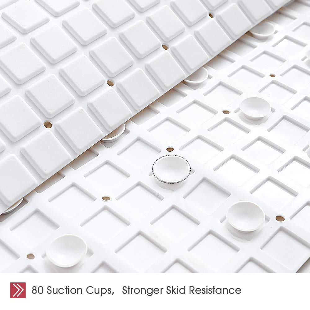 Mildew Resistant Anti Bacterial Phthalate Free Easy Clean 1, White Superior Drainage 80 Suction Cups Soft Anti-Slip Squares 28 x 15.8 Inch Non-Slip Bathtub Shower Safty Mats