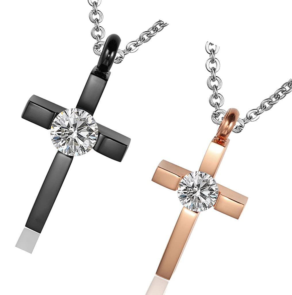Womens Mens Chain Pendant Latin Cross Rood Big Crystal 4 Color Epinki Stainless Steel Necklaces