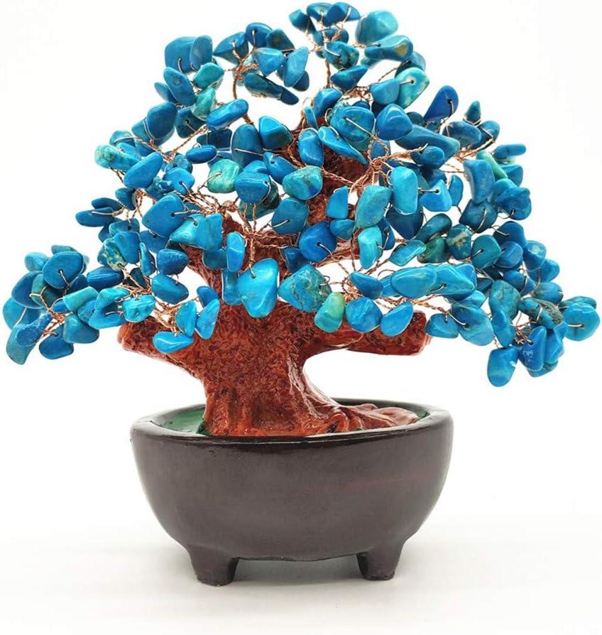 Colorsheng 7 Inch Quartz Crystal Money Tree Bonsai Fengshui Gem Decoration for Wealth and Luck (Blue)