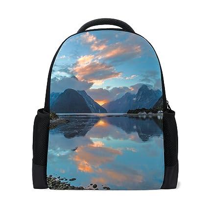 Amazon Com Milford Sound New Zealand Bay Reflection Mountains
