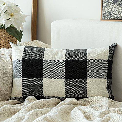 MIULEE Classic Retro Checkers Plaids Cotton Linen Soft Soild Decorative Square Throw Pillow Covers Home Decor Design Cushion Case Sofa Bedroom Car 12 x 20 Inch 30 x 50 cm