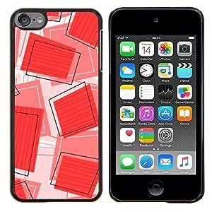 For Apple iPod Touch 6 6th Generation - Red Square Geometric Pattern /Modelo de la piel protectora de la cubierta del caso/ - Super Marley Shop -
