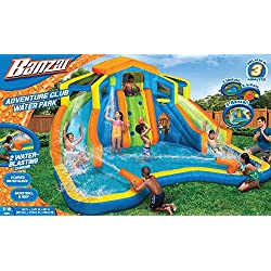 Banzai Adventure Club Water Park Spring / Summer Inflatable 2-Lane Air Dual Water Slide + Splash Pool (includes Motor Blower)