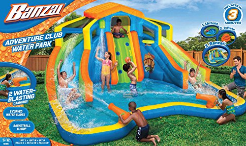 Banzai Adventure Club Water Park Spring / Summer Inflatable 2-Lane Air Dual Water Slide + Splash Pool (includes Motor ()