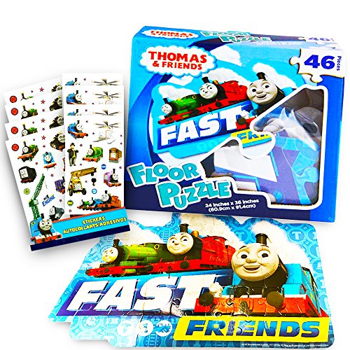 Thomas the Train Floor Puzzle Set -- Giant Puzzle and over 100 Thomas and Friends Reward Stickers for Kids Toddlers (3 Foot, 46 Pieces)