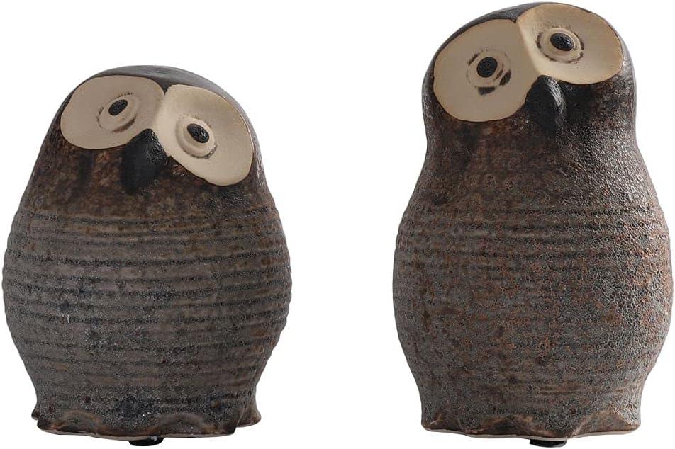 Lovecat Ceramic Animal Decorations, Cottage House Ornaments, Vintage Owl Figurines for Home Garden Decor (2 Brown Owls)