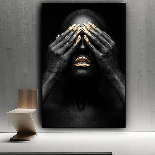 adgkitb canvas Labios Negros y Dorados Mujer Desnuda Pintura al ...