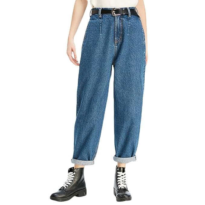 28a28975302 Zhiyuanan Women s Large Size Baggy Jeans Casual Comfy Carrot Denim Pants   Amazon.co.uk  Clothing