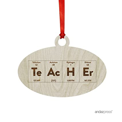 andaz press laser engraved wood christmas ornament with gift bag periodic table teacher oval