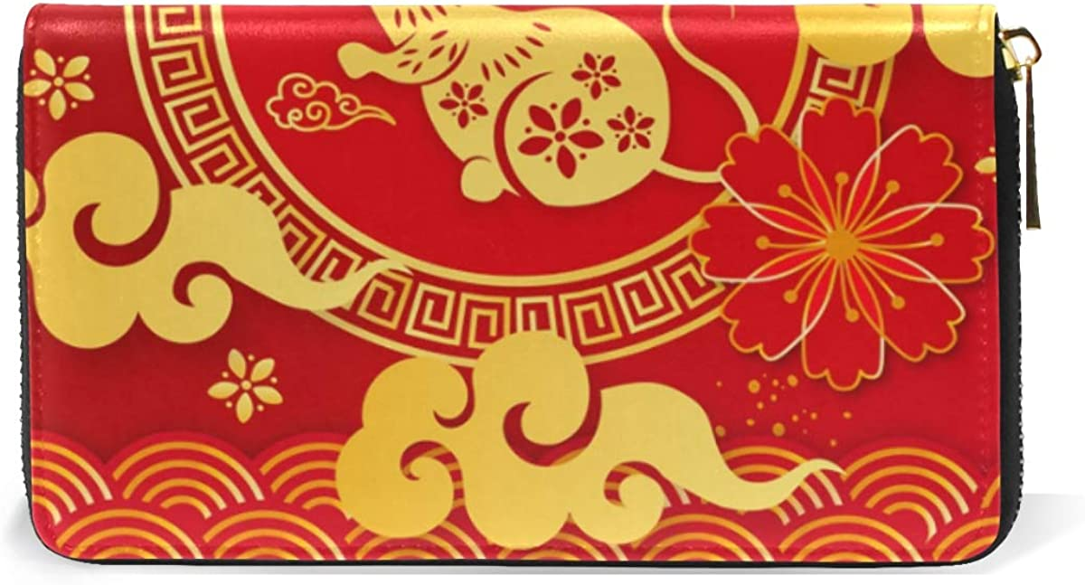 Chinese New Year Mouse Leather Womens Zipper Wallets Clutch Coin Case