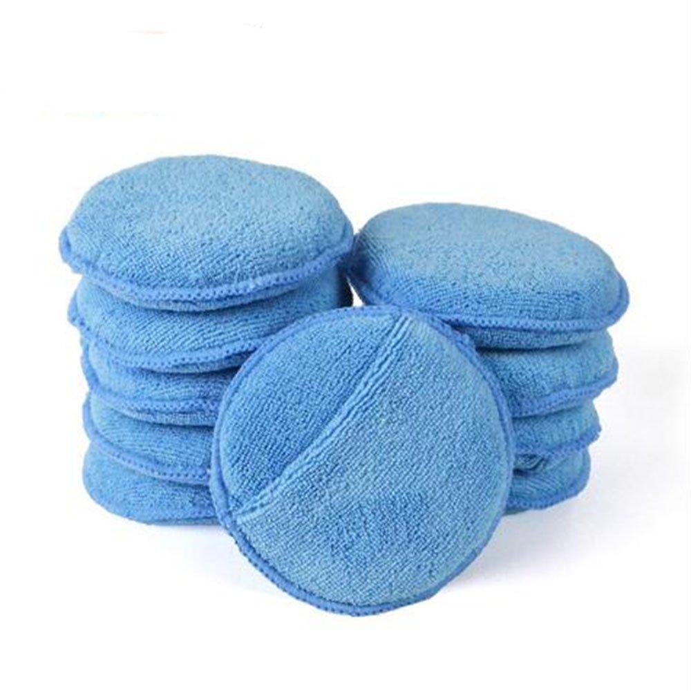 ICYANG Microfiber Car Wax Sponge Waxing Polish Wax Foam Sponge Applicator Pads Cars Vehicle Glass Clean (10PCS/Set), Blue