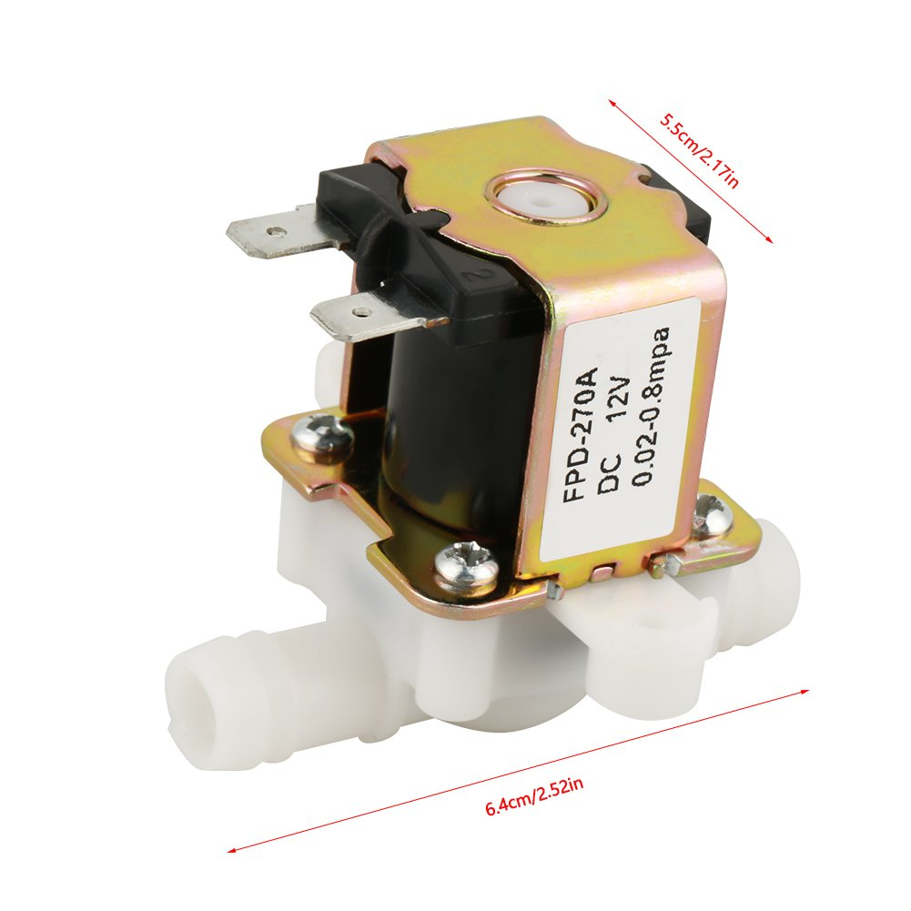 """3//8/"""" DC 12V OD 12mm Plastic Electric Solenoid Valve Water Inlet and Outlet Switch Normally Closed"""