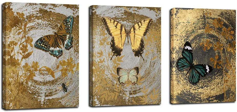 Arjun Abstract Gold Butterfly Paintings Modern Canvas Wall Art Flower Pattern Pictures Prints Artwork for Bathroom Living Room Bedroom Dining Room Kitchen Home and Office Wall Decor, 12