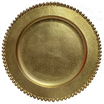 Image of Charger & Service Plates Charge It By Danny Wholesale & Quality Gold Beaded Aluminum Rich Farmhouse Theme Charger Plates, 12.5 inch