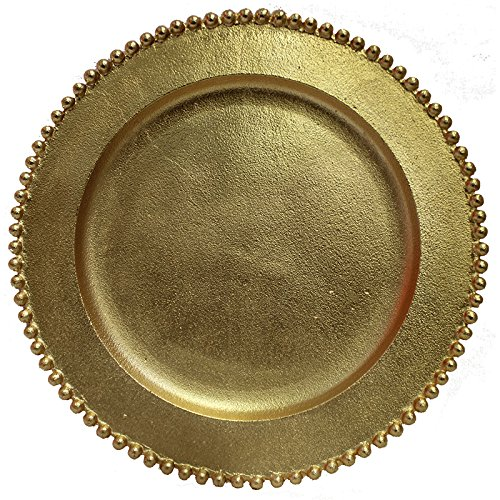 Charge It By Danny Wholesale & Quality Gold Beaded Aluminum Rich Farmhouse Theme Charger Plates, 12.5 inch,
