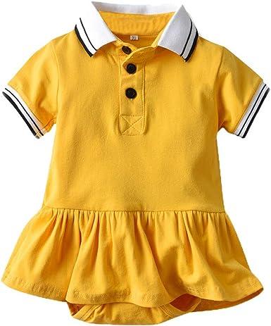 MAYOGO Bebé Vestido niña Polo Mono Bebés Peleles Manga Corta Polo ...