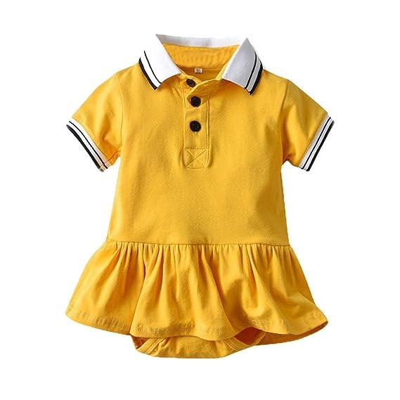 MAYOGO Bebé Vestido niña Polo Mono Bebés Peleles Manga Corta Polo Body Niñas Recién Nacido Algodón Mameluco Falda Fiesta Ropa de Bebe Niña 6 a 12 Meses: ...