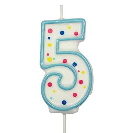 large number 5 birthday candle