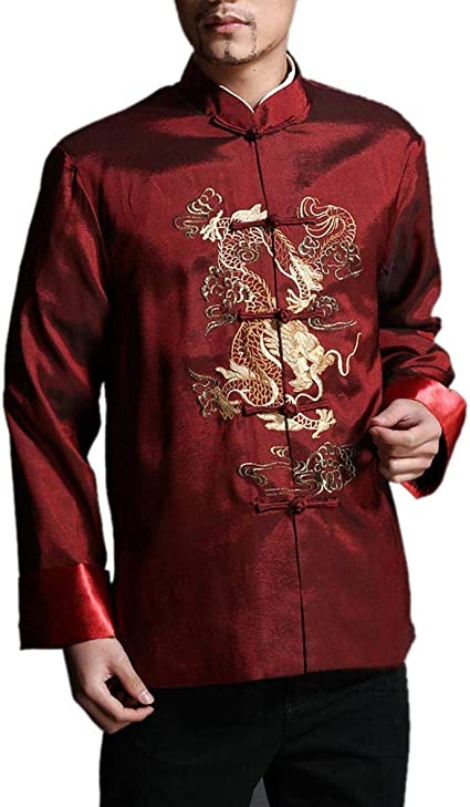 Chaqueta de Kung Fu para Hombre de Color Rojo Camisa Acolchada de Dragón - 100% de Seda #101: Amazon.es: Ropa y accesorios
