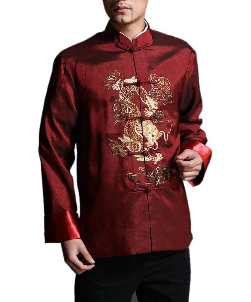 Stylish Red Kung Fu Men's Blazer Padded Jacket Dragon Shirt - 100% Silk #101 + Free Magazine by Interact China