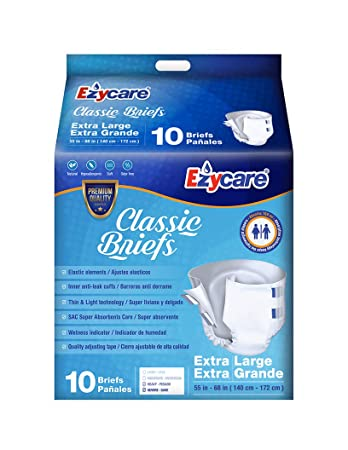 Ezycare Protective Incontinence Adult Diaper Classic Brief Maximum Absorbency with Adjustable Tabs for Men and Women