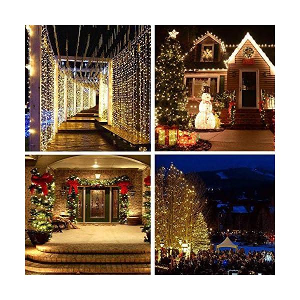 Catena Luminosa Solare, 20M Stringa Luci Solari 200 LED / 8 Modi, Impermeabili Luci Decorative da Interni e Esterni per Festa, Giardino, Natale, Halloween, Matrimonio (Bianco Caldo-13) 7 spesavip