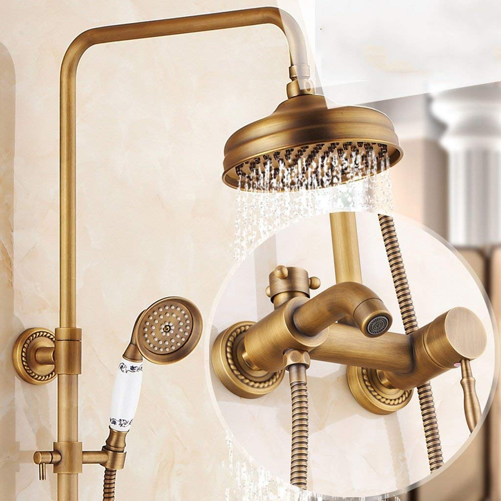 8 Shower set European-style Retro Copper Shower Shower Hot And Cold Faucet Wall-mounted, Can Be Lifted With redation (color    8)