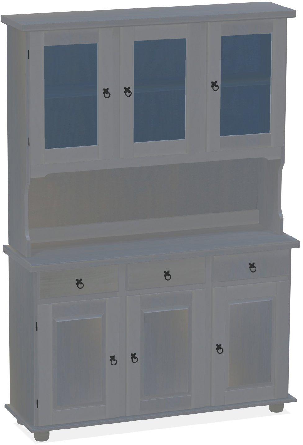 Brasilmöbel Highboard, Pinie Massivholz, geölt und gewachst Seidengrau, L/B/H: 129 x 40 x 187 cm