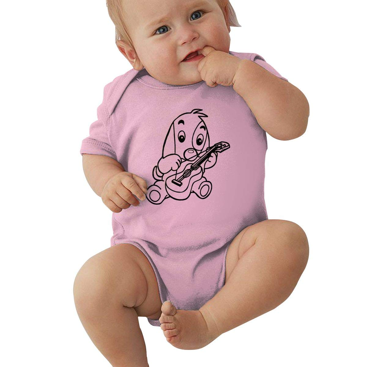 Dog Playing Guitar Coloring Infant Baby Girl Boy Romper Jumpsuit Short Sleeved Bodysuit Tops Clothes