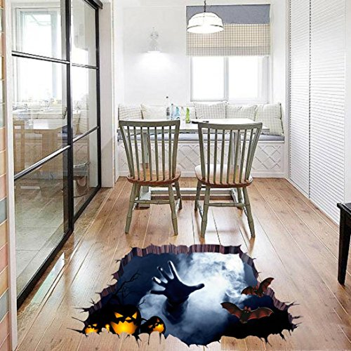 Sikye Halloween Decor DIY Art 3D Room Floor Wall Sticker Mural Decal Waterproof (Multicolor 1)]()